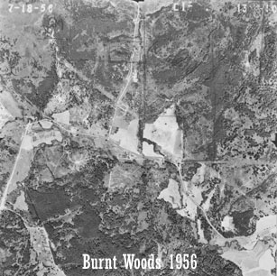 Aerial view of Starker Forests land near Burnt Woods, 1956