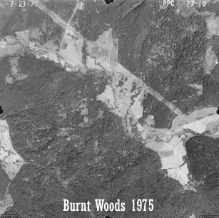 Aerial view of Starker Forests land near Burnt Woods, 1975