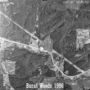 Aerial view of Starker Forests land near Burnt Woods, 1990