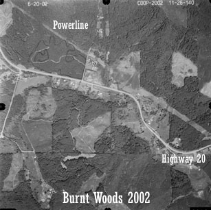 Aerial view of Starker Forests land near Burnt Woods, 2002
